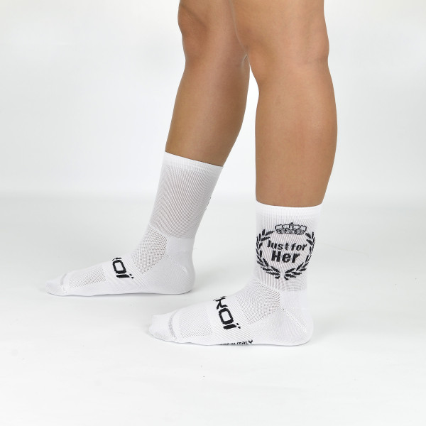 Chaussettes velo EKOI Lady Just for Her White