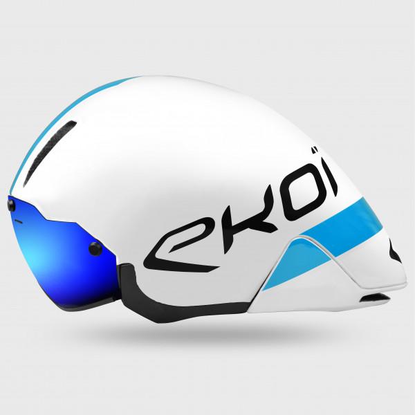 Casque chrono EKOI TTRB Blanc Bleu Revo Bleu
