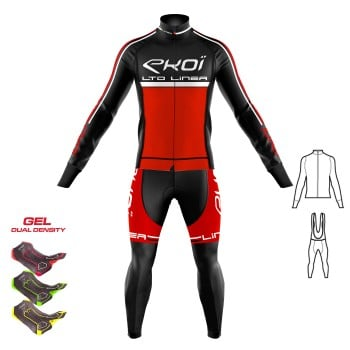 2 pieces Gear : Jacket & Bibtights Gel 3D EKOI LINEA LTD Red