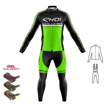 2dílný set dresu a kalhot s gelovou vložkou 3D EKOI LINEA LTD fluorescenční zelená