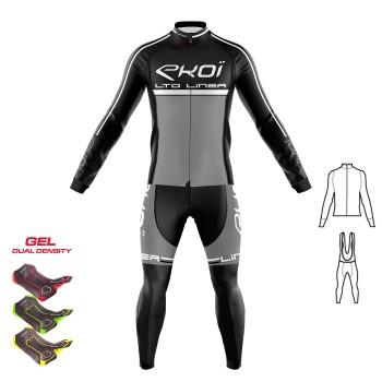 2dílný set dresu a kalhot s gelovou vložkou 3D EKOI LINEA LTD černo-šedé