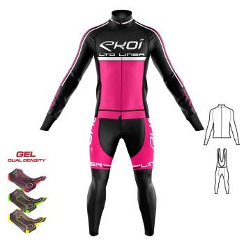 2dílný set bunda + Kalhoty s gelovou vložkou 3D EKOI LINEA LTD neonově-růžová