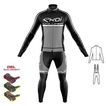2dílný set bunda + Kalhoty s gelovou vložkou 3D EKOI LINEA LTD černo-šedá