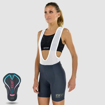 Vrouwenfietsbroek met schouderbanden BRIDGET Grijs