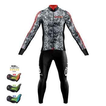 Sæt trøje + lange cykelbukser KAMO grå Pro Gel MEMORY
