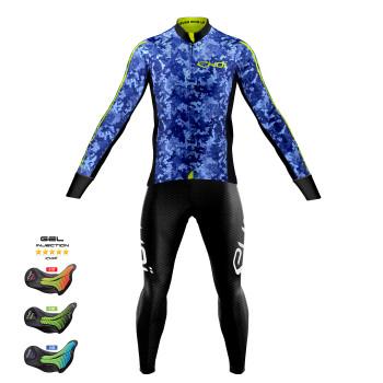 Sæt trøje + lange cykelbukser KAMO blå Pro Gel MEMORY
