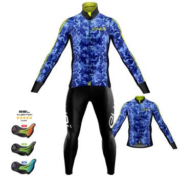 Sæt termojakke + trøje + lange cykelbukser KAMO blå Pro Gel MEMORY