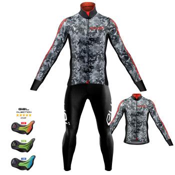 Sæt termojakke + trøje + lange cykelbukser KAMO grå Pro Gel MEMORY