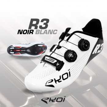 EKOI R3 WHITE & BLACK ROAD SHOES