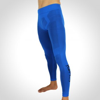 EKOI RUN Blue full running tights in DRYARN