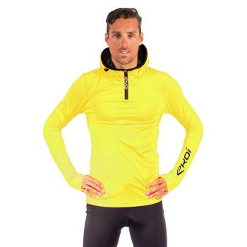 EKOI Yellow zipped hoodie sweat top