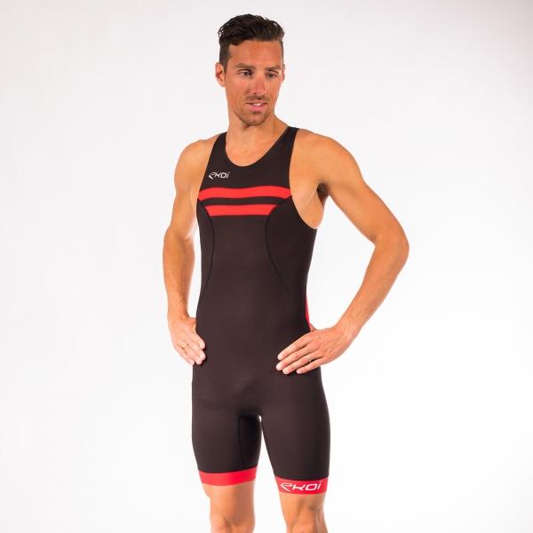Triathlon-Einteiler EKOI Kurzdistanz Schwarz Rot