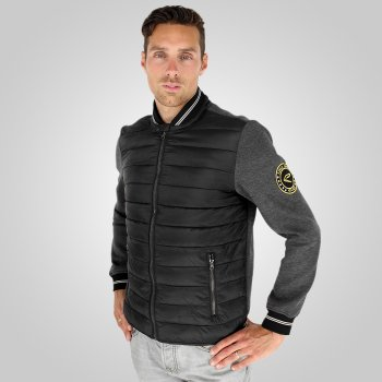 Part-quilted EKOI Club Black bomber jacket