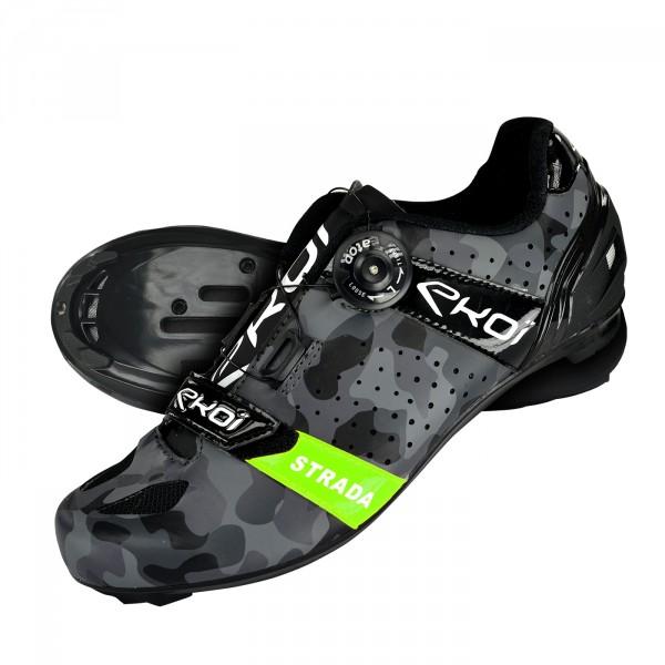 EKOI STRADA Green Camo road cycling shoes