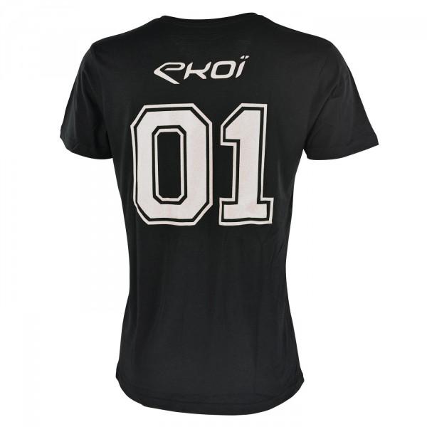 Tshirt EKOI 01 Col V Noir Blanc