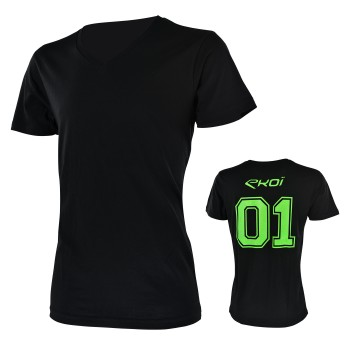 Tshirt EKOI 01 - V neck Black /Green