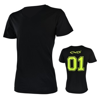 Tshirt EKOI 01 - V neck Black / Yellow