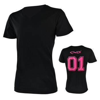 T-Shirt EKOI 01 V-Ausschnitt Schwarz Pink
