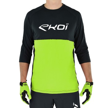 EKOI MTB BAMBOO Black and Green 3/4 sleeved jersey