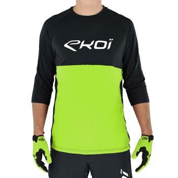 Shirt EKOI MTB BAMBOU mouwen in 3-4 Zwart-Groen