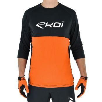 Koszulka EKOI MTB BAMBOU rękawy 3/4 Czarno-pomarańczowa