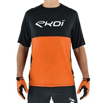 Koszulka EKOI MTB BAMBOU z krótkim rękawem Czarno-pomarańczowa