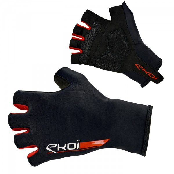 EKOI ROAD Black short-fingered cycling gloves with gel inserts