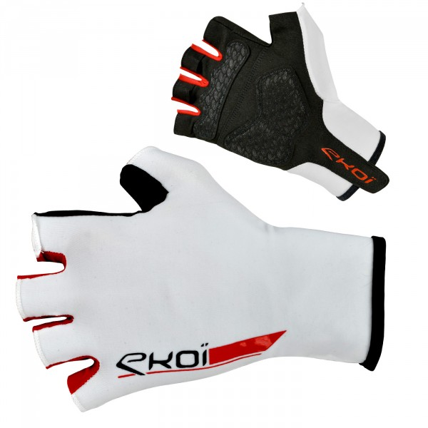 EKOI ROAD White short-fingered cycling gloves with gel inserts