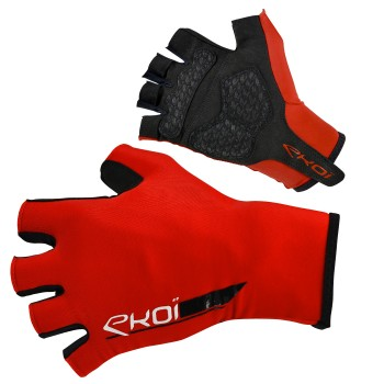 EKOI ROAD Red short-fingered cycling gloves with gel inserts