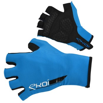 EKOI ROAD Blue short-fingered cycling gloves with gel inserts