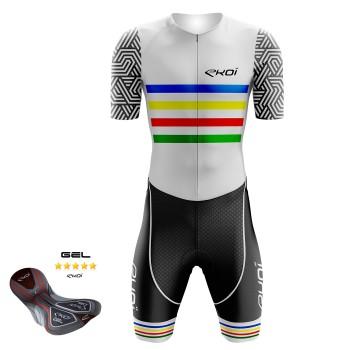 Combinaison vélo Gel EKOI ARCOÏRIS Blanc