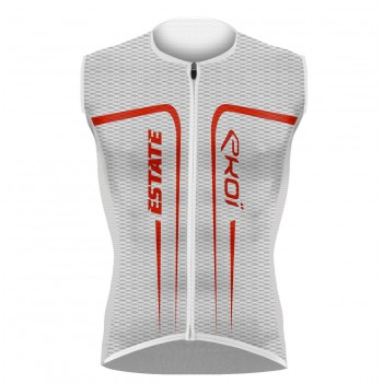 Maillot EKOI ESTATE sans manches Blanc Rouge