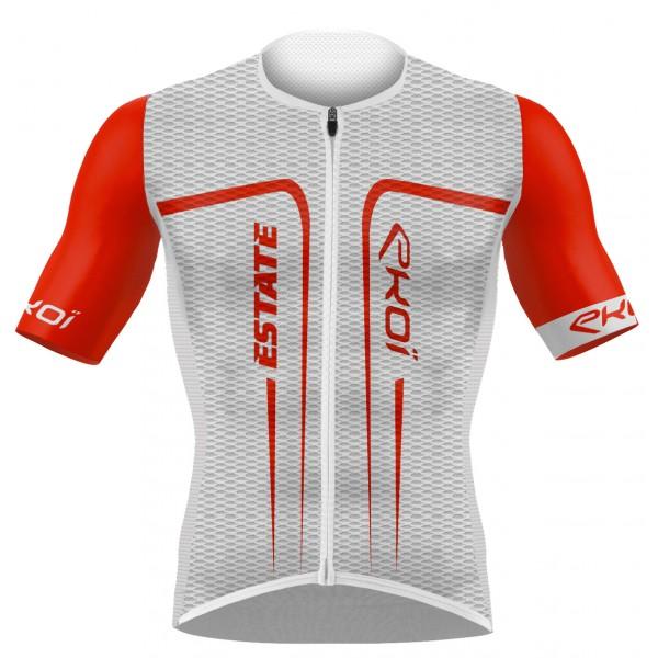 EKOI ESTATE-trøje med korte ærmer i Hvid og Rød