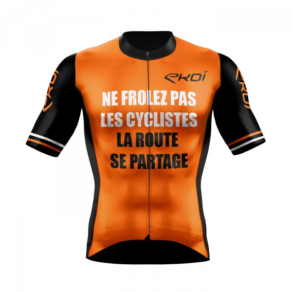 Cycling jersey  EKOI PROTECT FR Neon Orange