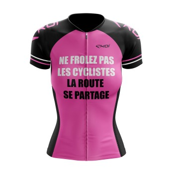 MAILLOT LADY EKOI SAFETY ROSE FLUO