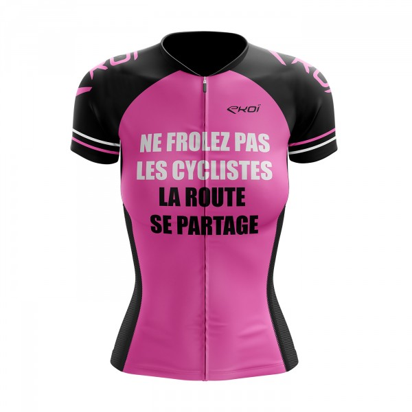 Cycling Jersey LADY EKOI PROTECT FR Neon Pink