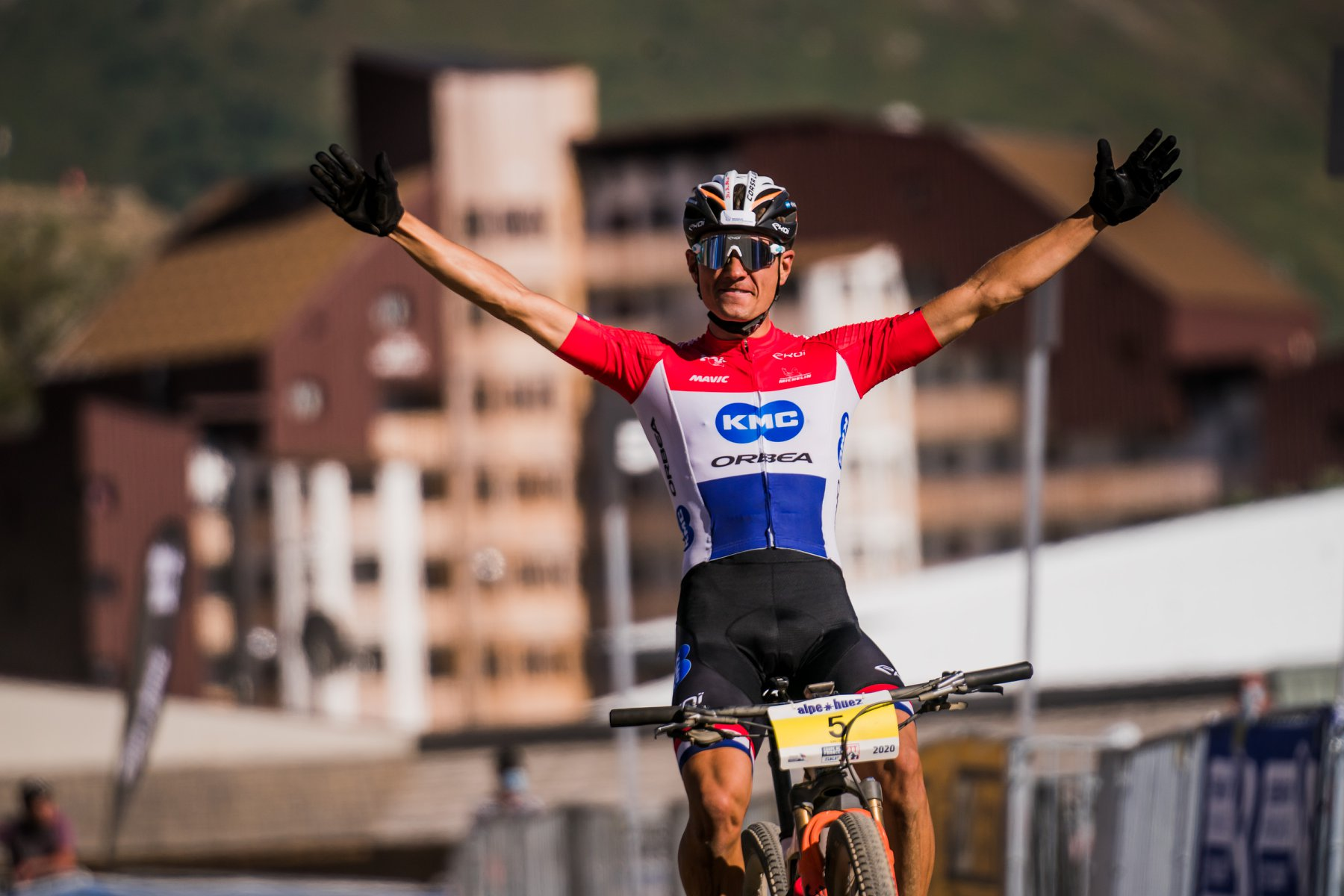 MILAN VADER WINNER OF THE FRENCH CUP OF MTB AT ALPE D'HUEZ, THOMAS LITSCHER 3RD, VICTOR KORETZKY 5TH